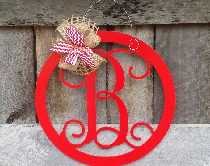 Initial Door Hanger - Painted Personalized Door Hanger - Monogram Wreath - Personalized Door Decor - Personalized Gift