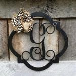 Initial Door Hanger - Distressed  Personalized Door Hanger - Monogram Wreath - Personalized Door Decor