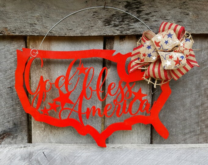 READY TO SHIP!  God Bless America Door Hanger - Patriotic Wreath - Fourth of July Door Hanger - July 4th Wreath - Independence Day