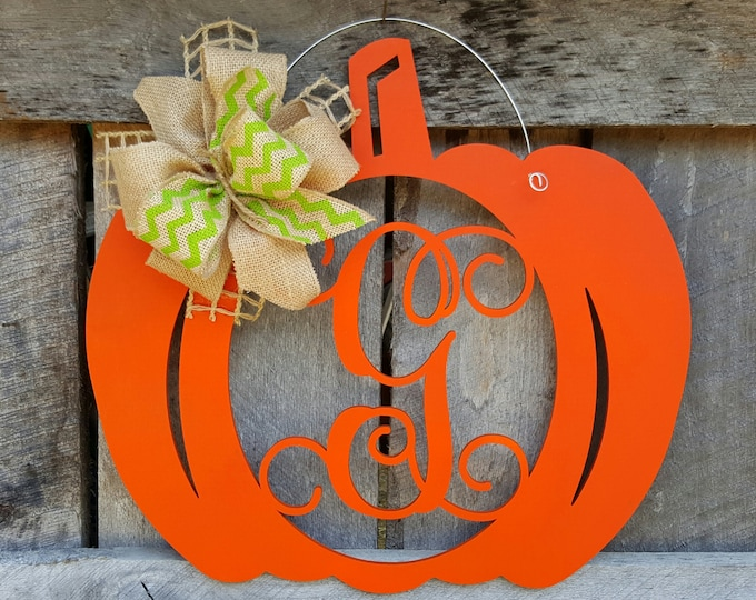 Pumpkin Door Hanger - Initial Wreath - Personalized Fall Wreath - Wall Hanging - Door Decor - Personalized Pumpkin Wreath