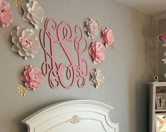 Wooden Initials - Painted Wooden Monogram - Bedroom Wall Hanging - Nursery - Dorm - Couple's Monogram