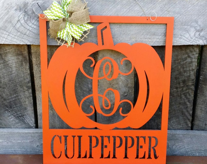 Pumpkin Door Hanger - Initial Wreath - Monogram Fall Wreath - Wall Hanging - Door Decor - Personalized Pumpkin Wreath