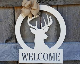 Hunting Door Hanger - Wooden Deer Sign - Buck Wall Hanging - Welcome - Wedding Gift - Housewarming Gift - Personalized Gift