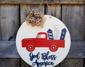 July 4th Door Hanger - Patriotic Wreath - God Bless America Door Decor - Independence Day Decor