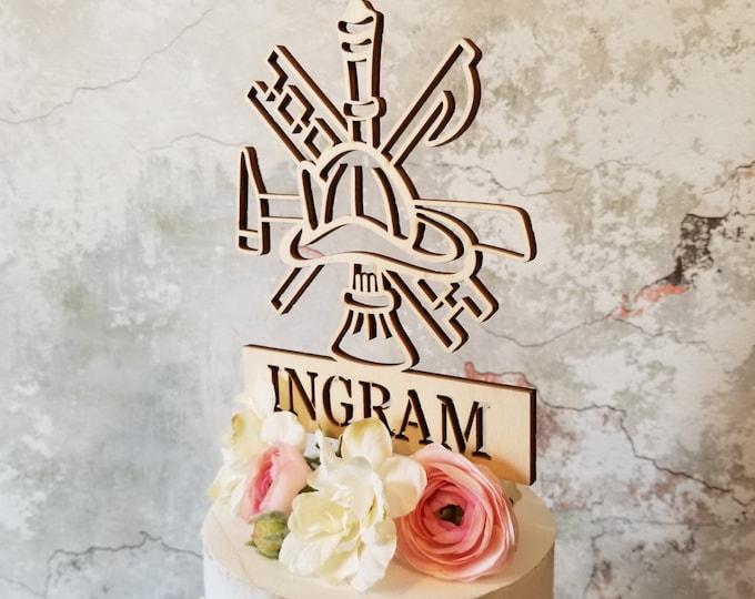 Unpainted Fireman Cake Decor - Wedding Decor - Cake Topper - Fireman - Birthday Party - Gift - Rustic - Fireman Cake Topper
