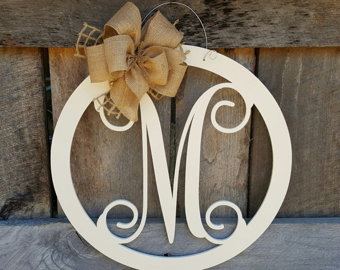 Initial Door Hanger - Painted Personalized Door Hanger - Monogram Wreath - Personalized Door Decor - Personalized Gift