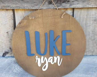 Wooden Name Sign - Name Round - Round Name Sign - Nursery Name Sign - Personalized Round Sign