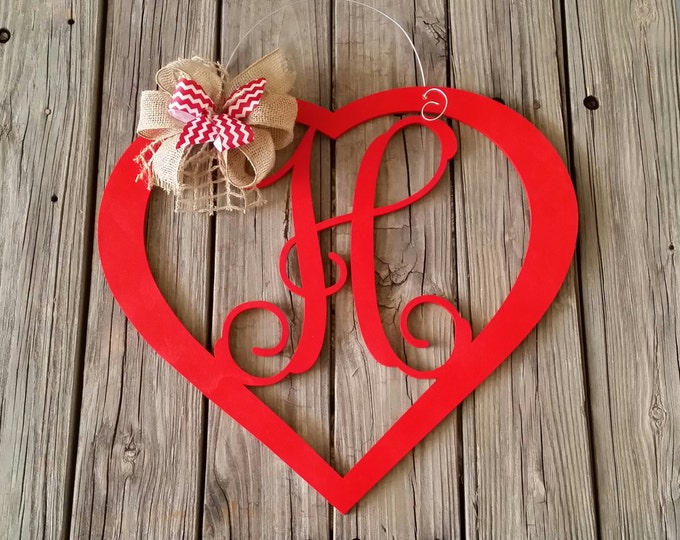 Valentine Door Hanger - Personalized Heart Door Hanger - Valentine's Day Decor - Personalized Valentine Wreath