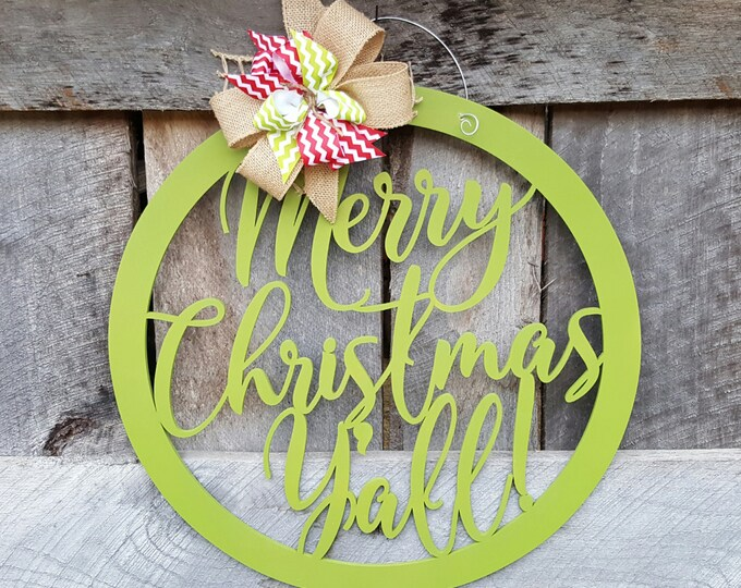 Merry Christmas Y'all Door Hanger - Christmas Wreath - Merry Christmas Wall Hanging