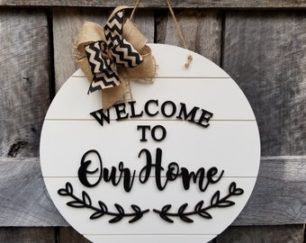Door Hanger - Welcome Sign - Front Door Decor - Wood Door Sign - Front Door Sign - Year Round Wreath - Wreath - Door Decor