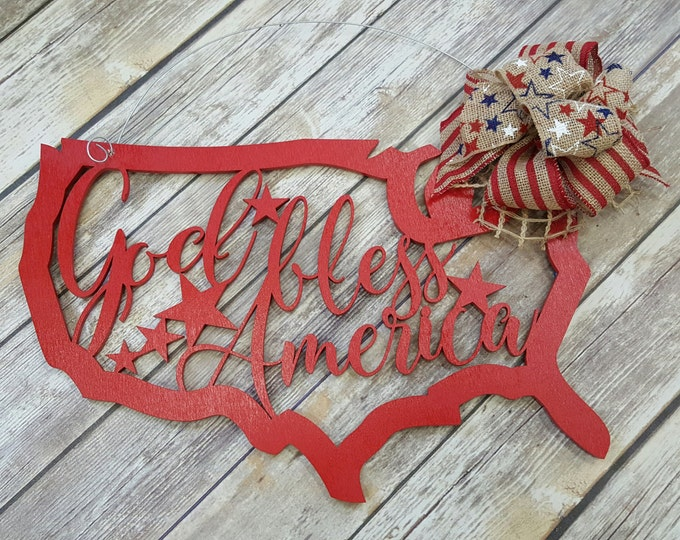 Fourth of July Door Hanger - July 4th Wreath - Independence Day - God Bless America