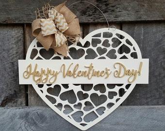 Valentine Door Hanger - Happy Valentine's Day - Wreath - Wall Hanging - Door Decor