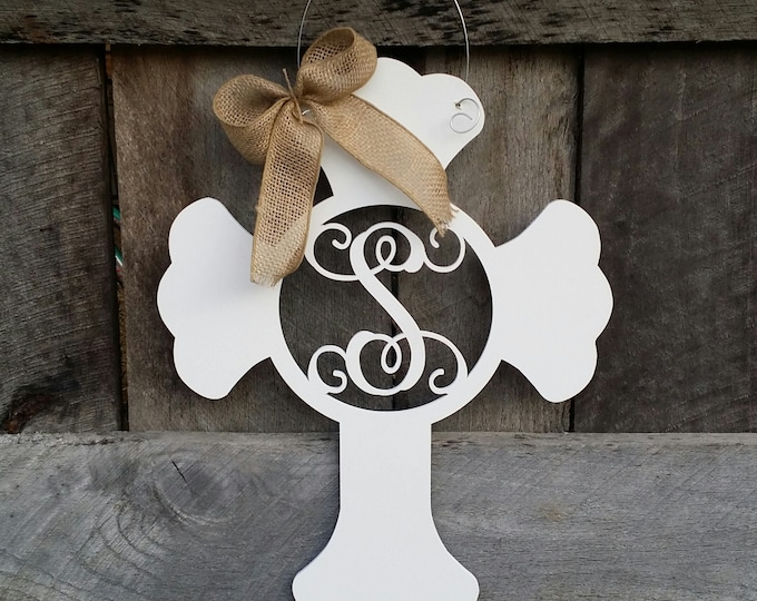 Monogram Cross Door Hanger - Painted Initial Cross Wreath - Nursery Decor - Hospital Door Hanger - Mother's Day Gift