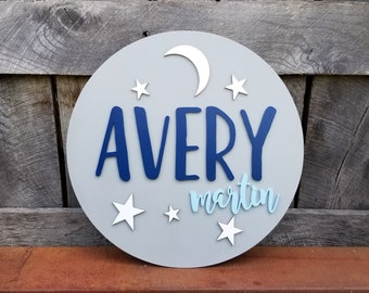 Moon and Stars Nursery Sign - Wooden Name Round - Wooden Name Sign - Round Name Sign - Nursery Name Plaque