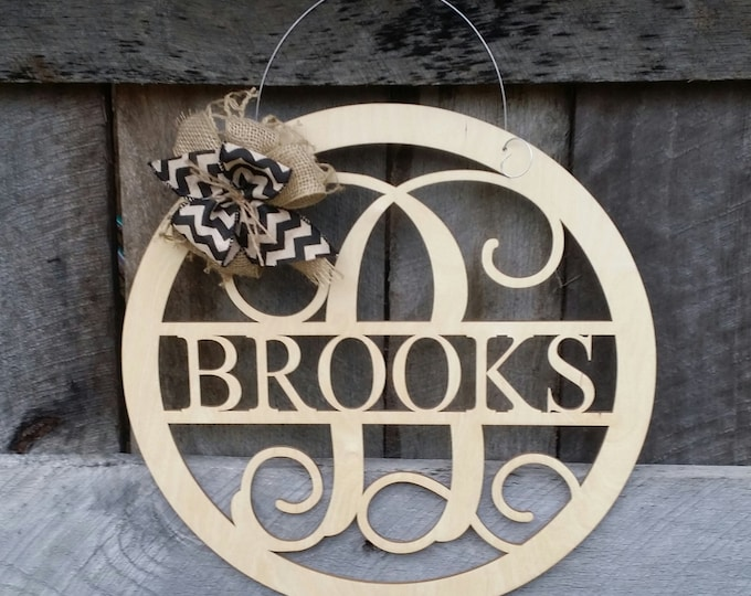 "20"" Wooden Monogram Door Hanger - Painted Family Monogram - Wedding Gift - Housewarming Gift - Personalized Gift - Personalized Door Hanger"