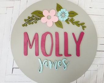 Personalized Name Wood Sign -Round Baby Name Sign -  Floral Round Name Sign - Wooden Name Sign - Round Name Sign - Nursery Name Plaque