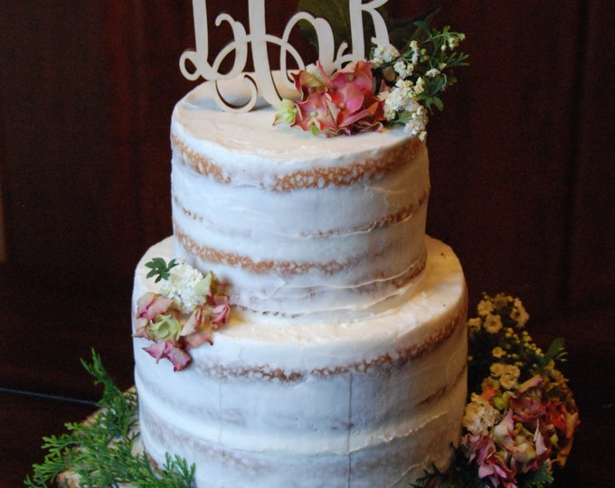 Monogram Cake Topper - Unpainted Wooden Cake Topper - Wedding Cake Topper - Initial Cake Topper