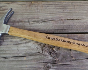 Engraved Wooden Handled Hammer - Personalized Hammer - Gift for the Groom - Valentine Gift - Gift for the Guy