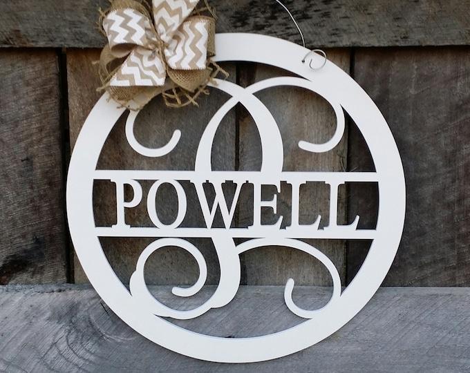 "Wooden Monogram Door Hanger - 20"" Painted Family Monogram - Wedding Gift - Housewarming Gift - Personalized Gift - Personalized Door Hanger"