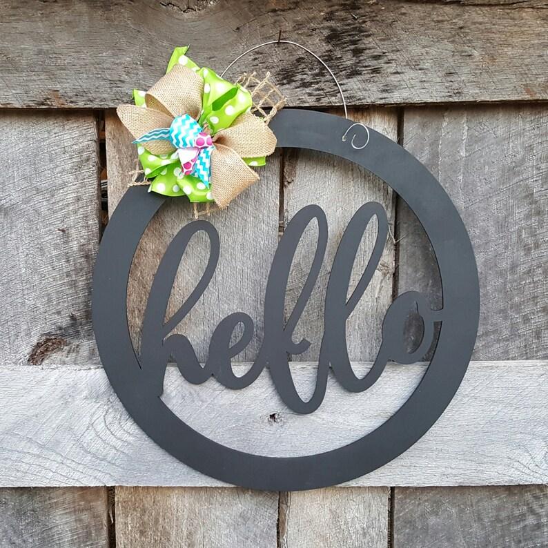 Hello Door Hanger  Hello Wreath  Gift for Mom  Teacher Gift image 1
