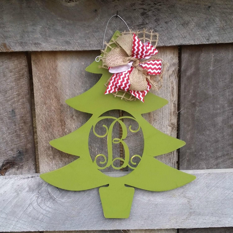 personalized christmas tree door hanger distressed initial christmas wreath winter door decor personalized wreath