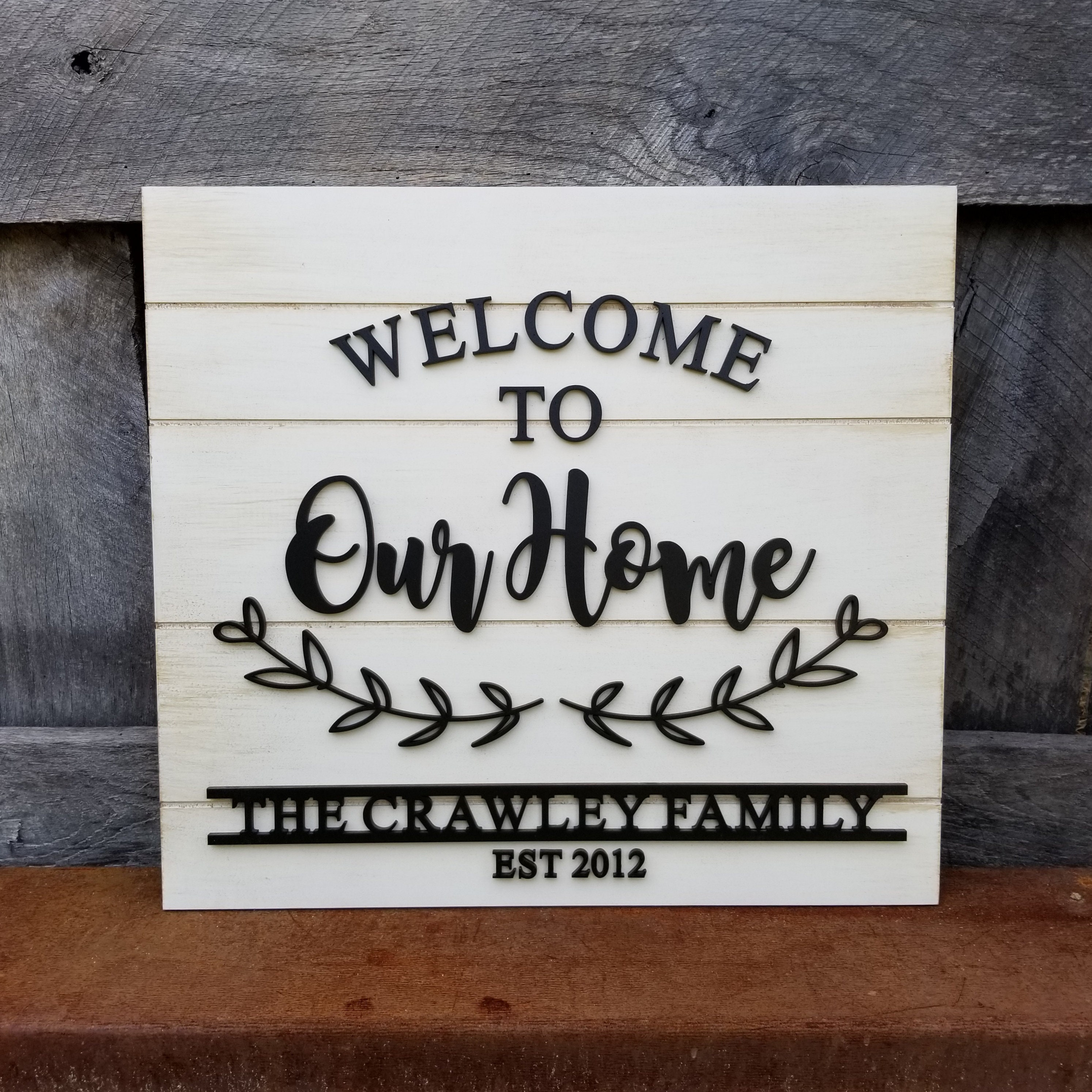 44794fc535d56 Welcome To Our Home - Family Name Sign - Established Sign ...