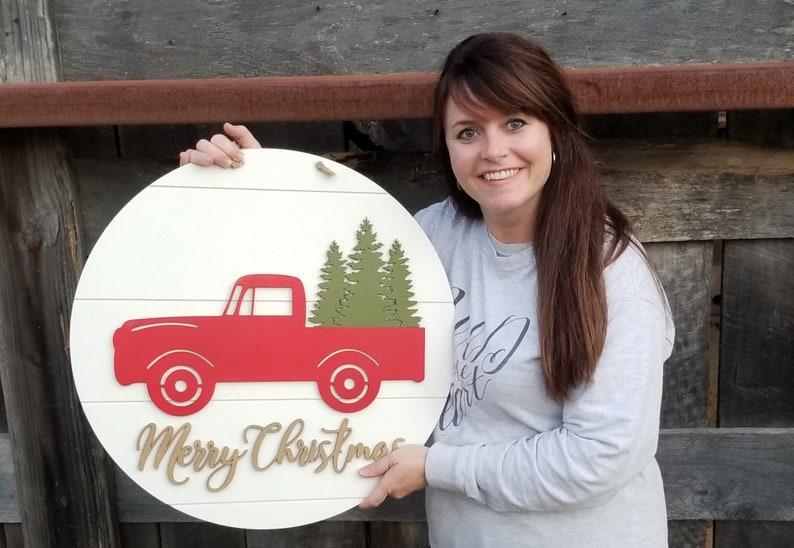 Shiplap Christmas Sign  Farmhouse Merry Christmas Sign  Red image 0