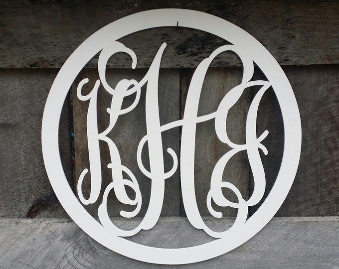 Painted Wooden Monogram with Circle Border - Vine Script Monogram - Wood Monogram - Monogram Gift - Wedding Gift - Housewarming Gift