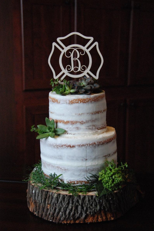Personalized Cake Topper  Maltese Cross  Fireman  image 0