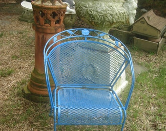 CLEARANCE SALE Over 50 % OFF Vintage Metal Outdoor Chair/ Antique Ornate  Iron Garden Chair / French Blue Elegant Iron Lawn Chair /
