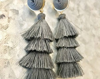 Grey Tassel Earrings