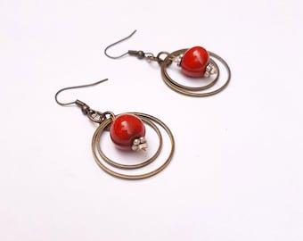 Handmade ceramic earrings, rings and beads, bright red enamel, ceramics jewellery for her, Aummade