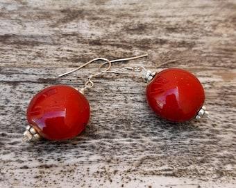 Handmade ceramic earrings, cherries earrings, dark red enamel, modern pottery, love gift, Aummade