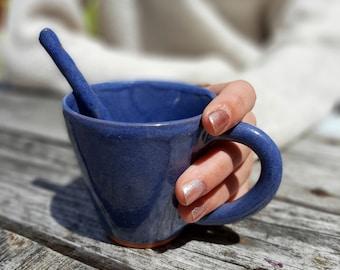 Handmade ceramic coffee mug with spoon, 150 ml, big coffee cup, blue violet, cappuccino cup, modern pottery, AUMMADE