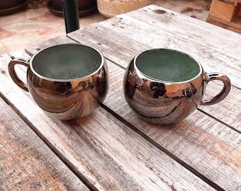 Handmade ceramic tea cup, tea mug, shiny black Gold, turquoise enamel, large coffee cup, modern ceramics, modern pottery, round mug, AUMMADE