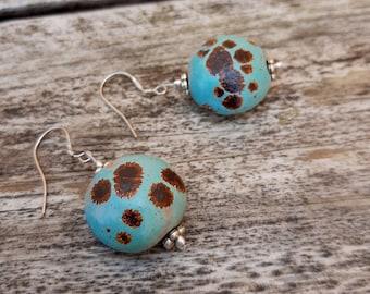 Handmade ceramic earrings, cherries earrings,sky blue enamel, modern pottery, love gift, Aummade