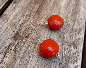 Handmade ceramic earrings, cherries earrings, bright red enamel, modern pottery, love gift, Aummade