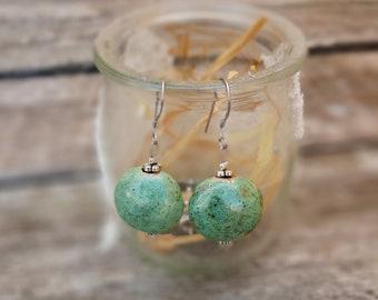 Handmade ceramic earrings, cherries earrings, turquoise green with silver effect enamel, modern pottery, love gift, Aummade