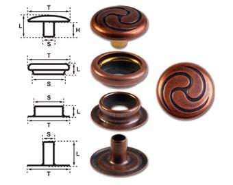 Brass (nickel free) Ring-Spring Snap Fastener Button 'F3' 14mm Celtic Spiral, Rapid Rivet Button, Finish: Copper-Antique