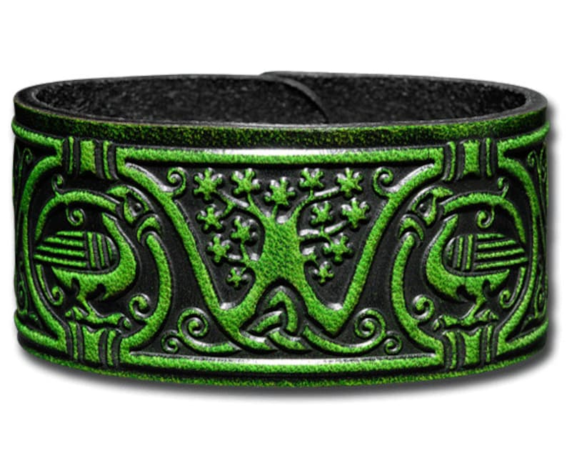 Leather Bracelet Wristband Cuff Embossed 32mm Celtic Tree of Life Antique-green with Snap Fasteners 6
