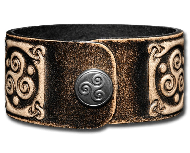 Leather Bracelet Wristband Cuff Embossed 32mm Celtic Knotwork 1 Antique-black with Snap Fasteners
