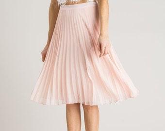 7afb4944ce377 Blush Pink Pleated Skirt Tulle Skirt Tutu Skirt Knee length Skirt