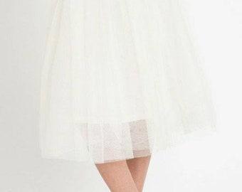 311c7bf63f Tulle White Midi Skirt/ Net Midi Skirt/ Prom Skirt/ Brides Maid Midi Skirt/  Tutu Midi Skirt