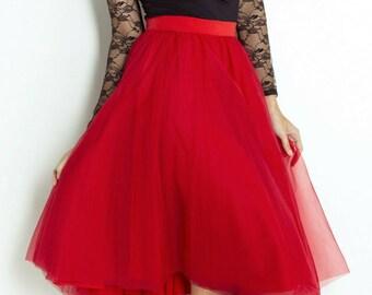 bd0739b1e8 Tulle Red Midi Skirt/ Net Midi Skirt/ Prom Skirt/ Brides Maid Midi Skirt/  Tutu Midi Skirt / Red skirt