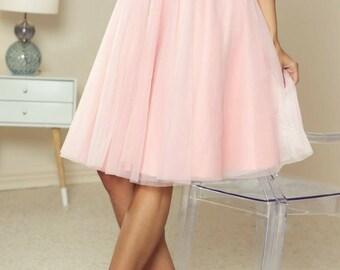 718908f04c Tulle White Midi Skirt/ Net Midi Skirt/ Prom Skirt/ Brides Maid Midi Skirt/  Tutu Midi Skirt/ light pink skirt