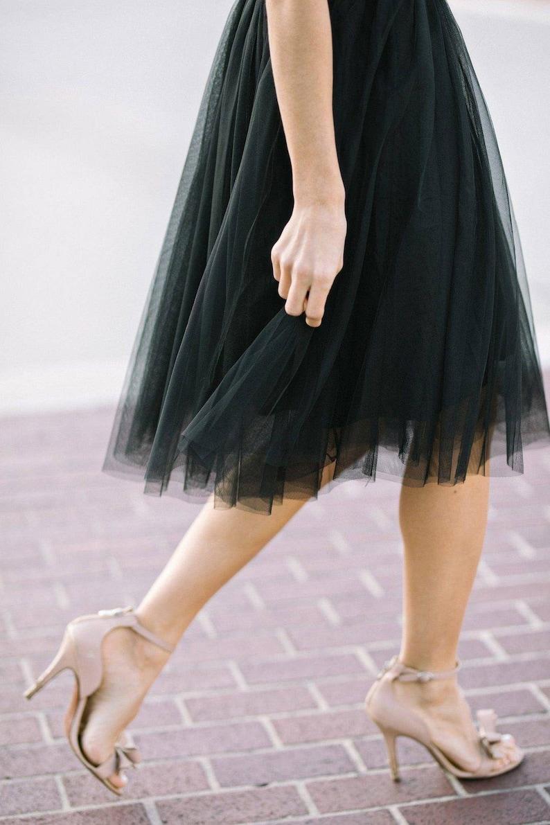 153f1a4f58 Tulle Black Midi Skirt/ Net Midi Skirt/ Prom Skirt/ Brides | Etsy