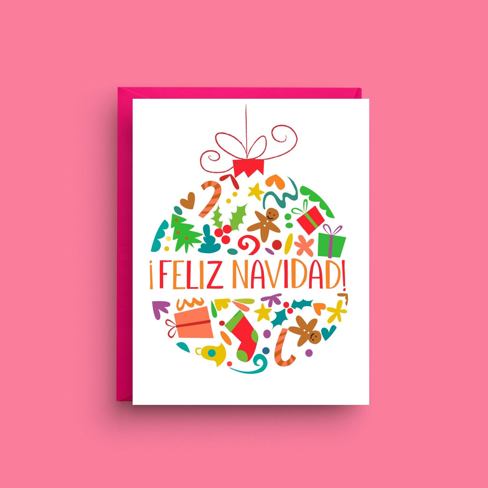 Feliz Navidad Card Merry Christmas Card Spanish Christmas Etsy