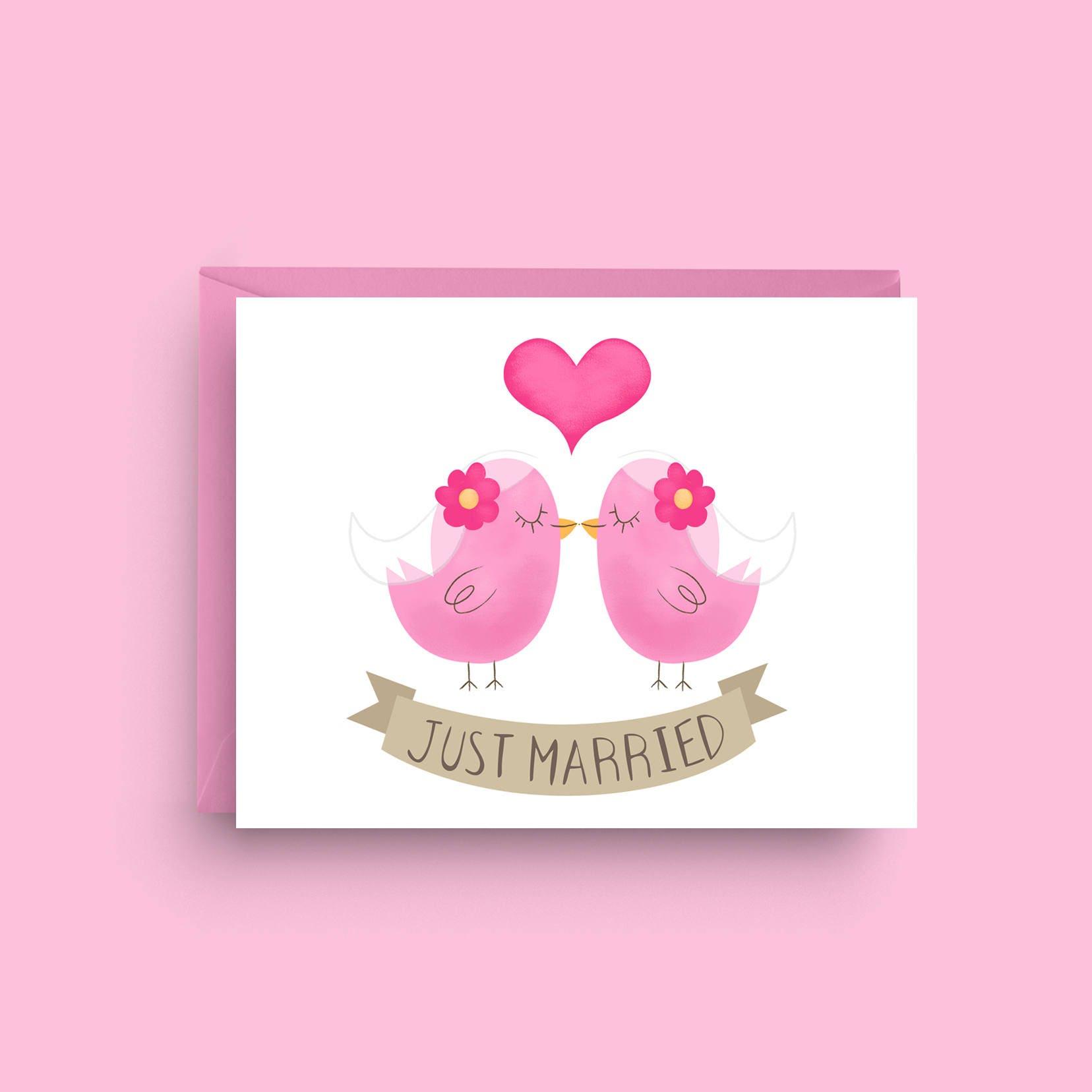 Love Birds Lesbian Wedding Card Gay Engagement Card Newly Etsy