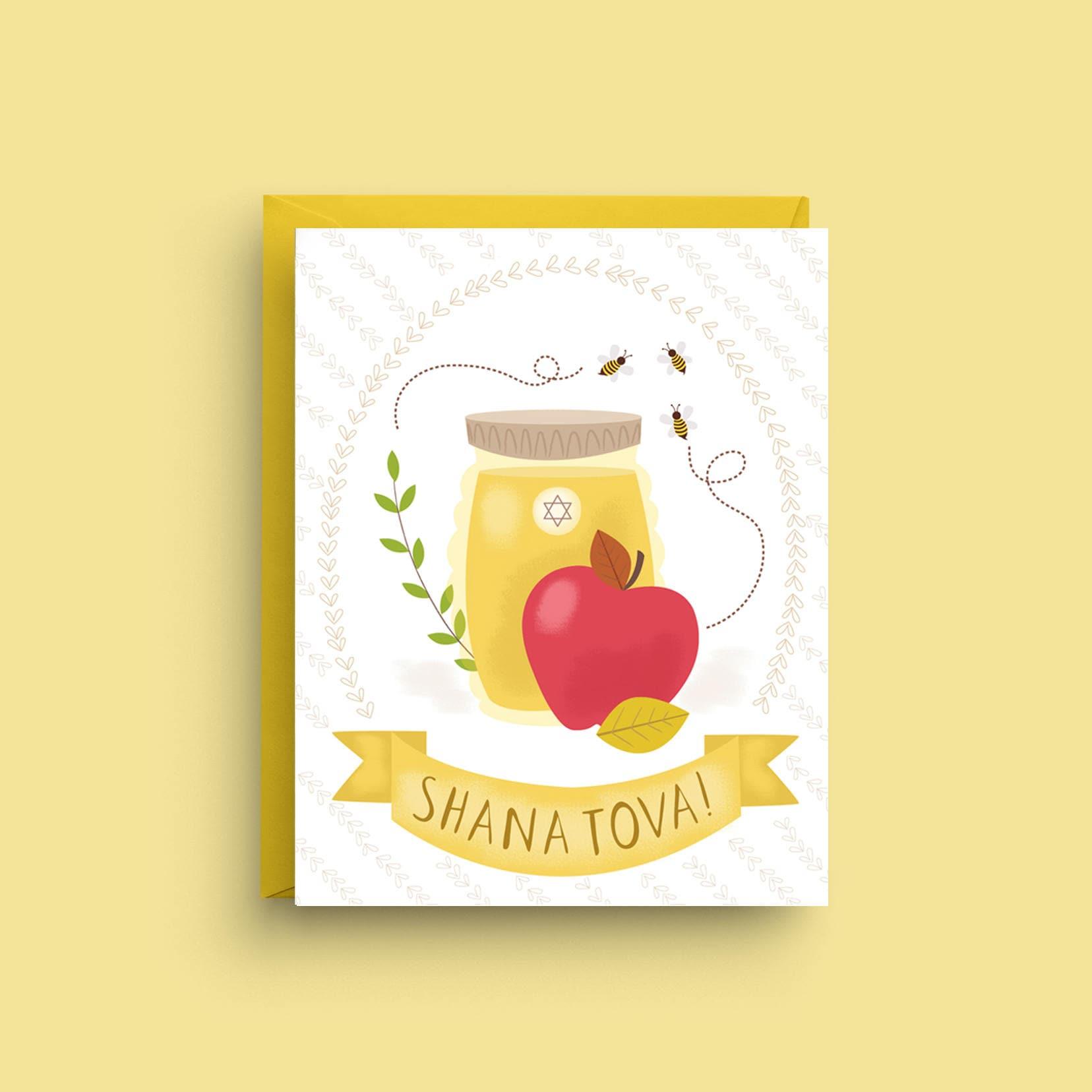 Rosh Hashanah Card Shana Tova Apples And Honey Jewish New Etsy
