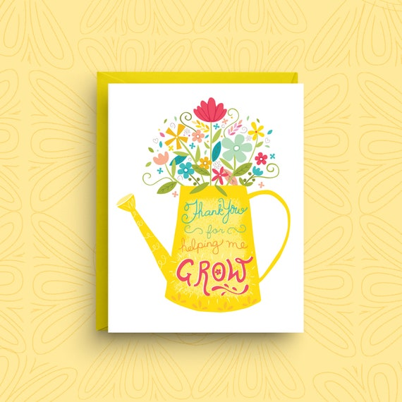 Card For Teacher Spring Floral Card Card For Mom Flower Etsy